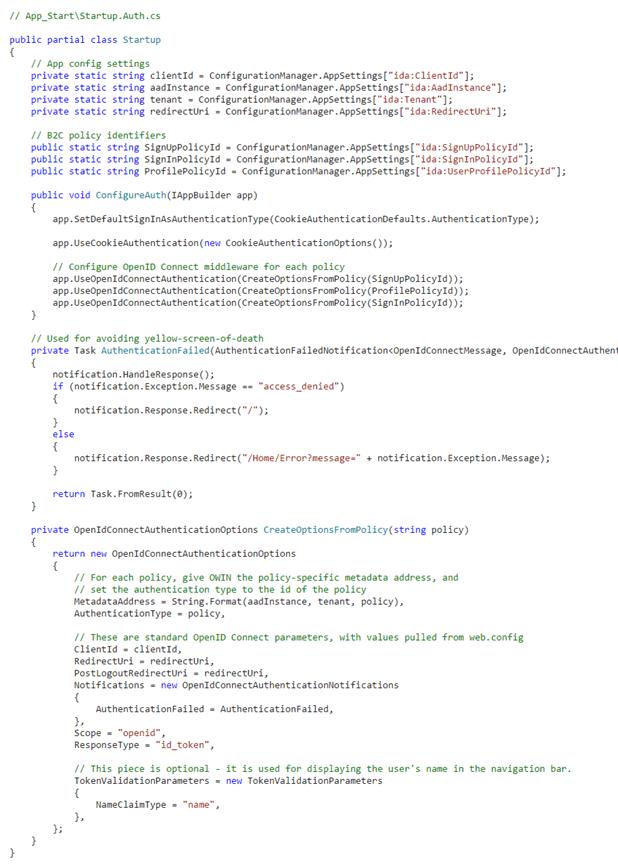 Integration of Azure Ad B2C with Dot Net Web App