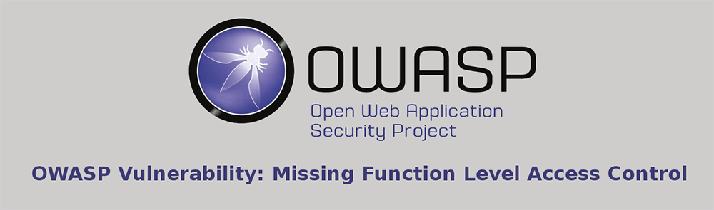 OWASP Vulnerability: Missing Function Level Access Control